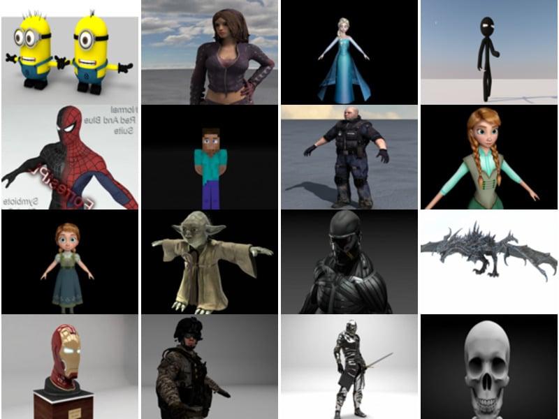 20 Most Viewed Cinema 4D Character Free 3D Models: Stickman, Spiderman, Star Wars, Iron Man, Soldier, Super Hero, Robot…