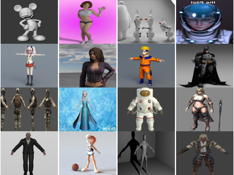 Top 30 Most Viewed OBJ Character 3D Models: Female, Girl, Cartoon, Animal, Robot, Soldier, Game Characters…