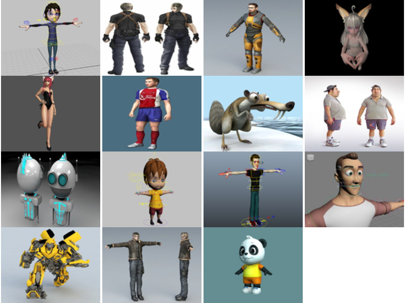 15 Maya Free 3D Models: Characters Realistic & Cartoon Style
