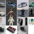 15 Obj Free 3D Models: Vehicle Car, Character, Electronic