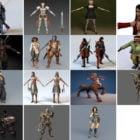 15 Realistic Warrior Character 3D Models: Anime Samurai, Medieval Female, Prince Of Persia, Ninja Samurai…