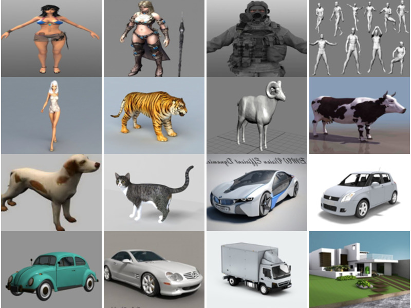 20 Files 3ds Max Free 3D Models: Character Girl, Realistic Animal, Realistic Car, Building