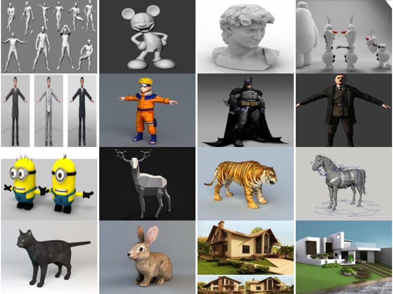 Top 30 Free 3D Models Free Download: Character, Animal, House, Tree, Car